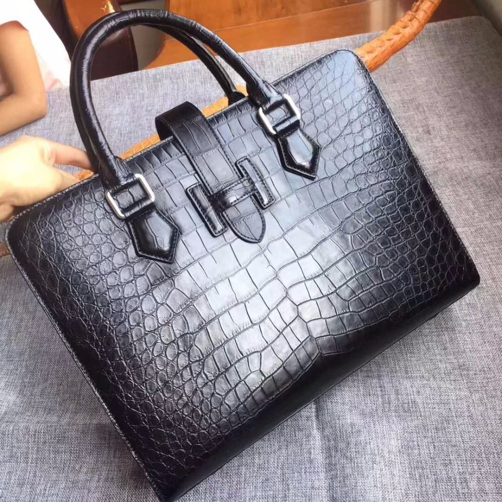 Skin-Briefcase Official-Bag Crocodile-Skin Men Bag Business Men's Genuine/real