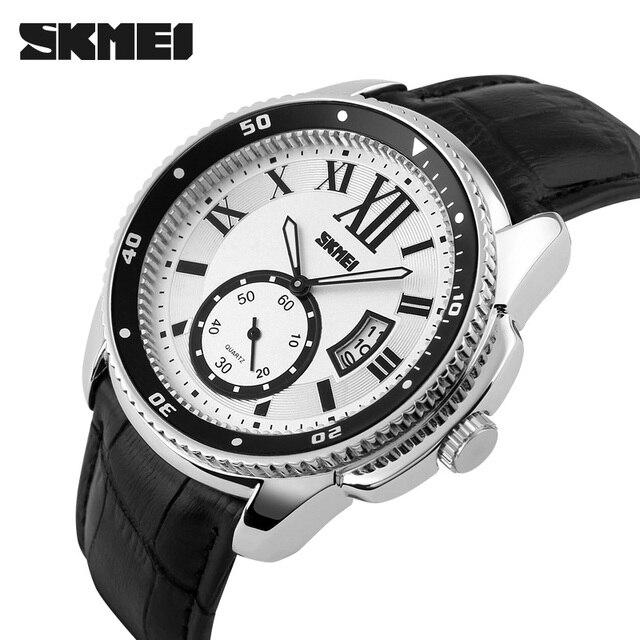 Мода Повседневная Часы Мужские Роскошь Кожи Высокого Качества Бизнес Кварцевые Часы Мужчины Водонепроницаемый Наручные Часы Relogios Masculino