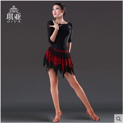 Latin Dance Kleid Sexy Silky Velvet Latin Girls Fransen Ballsaal Rock - Kunst, Handwerk und Nähen - Foto 3