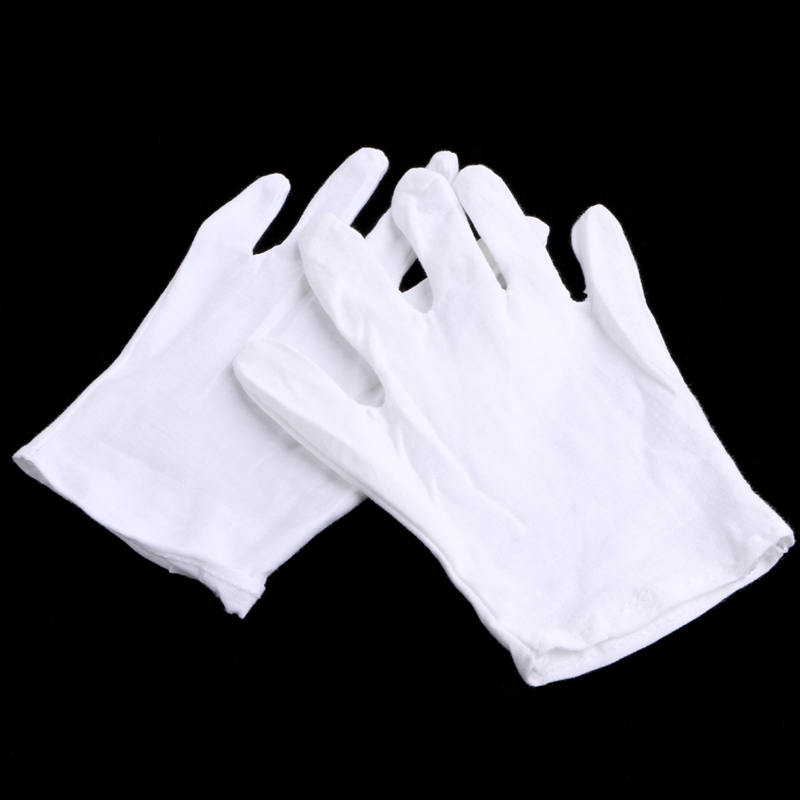 1 Pair White Cotton Blend Gloves for Inspection Work Coin Jewelry Lightweight 1 double cotton gloves white green