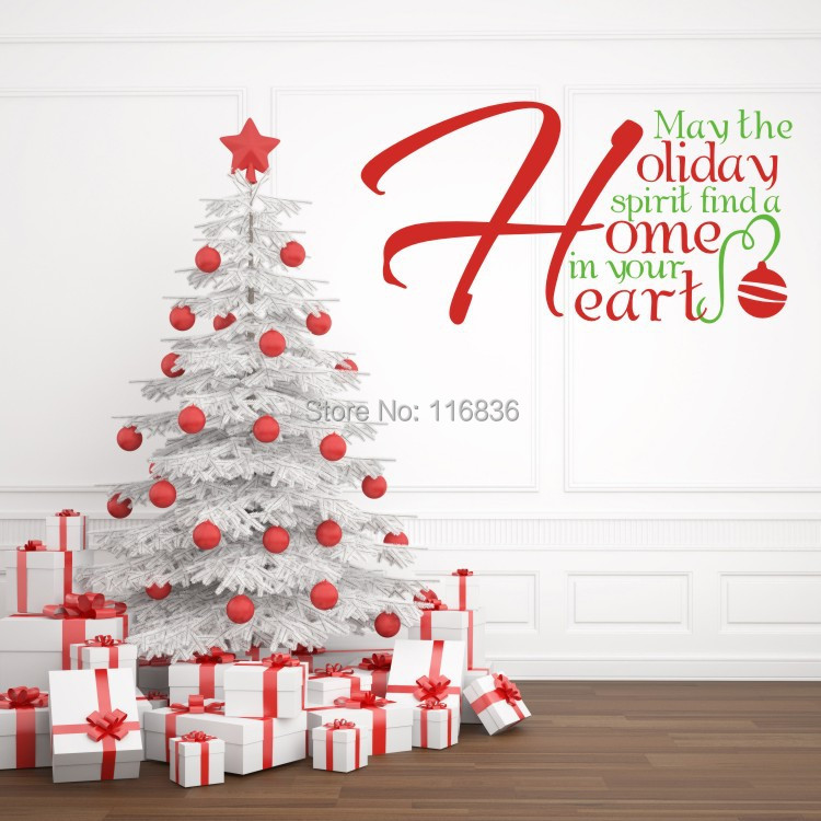 Christmas home decoration wall stickers quote holiday for Hearts decorations home