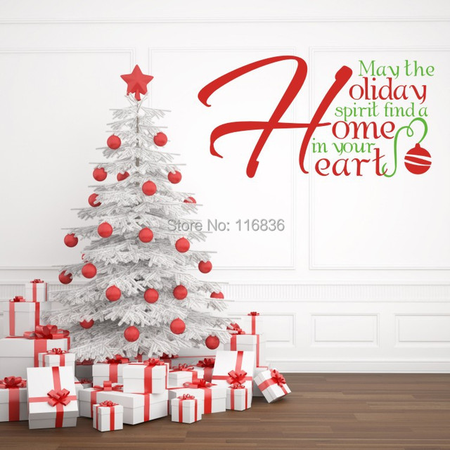 christmas home decoration wall stickers quote holiday home heart vinyl decal sticker