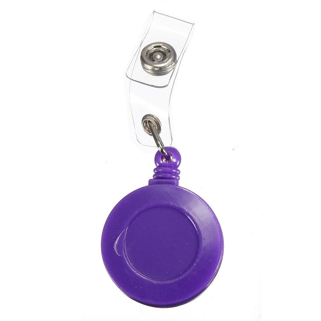1 Pcs Badge Holder Retractable Reel YOYO Clip Snap Button ID Card Key Purple