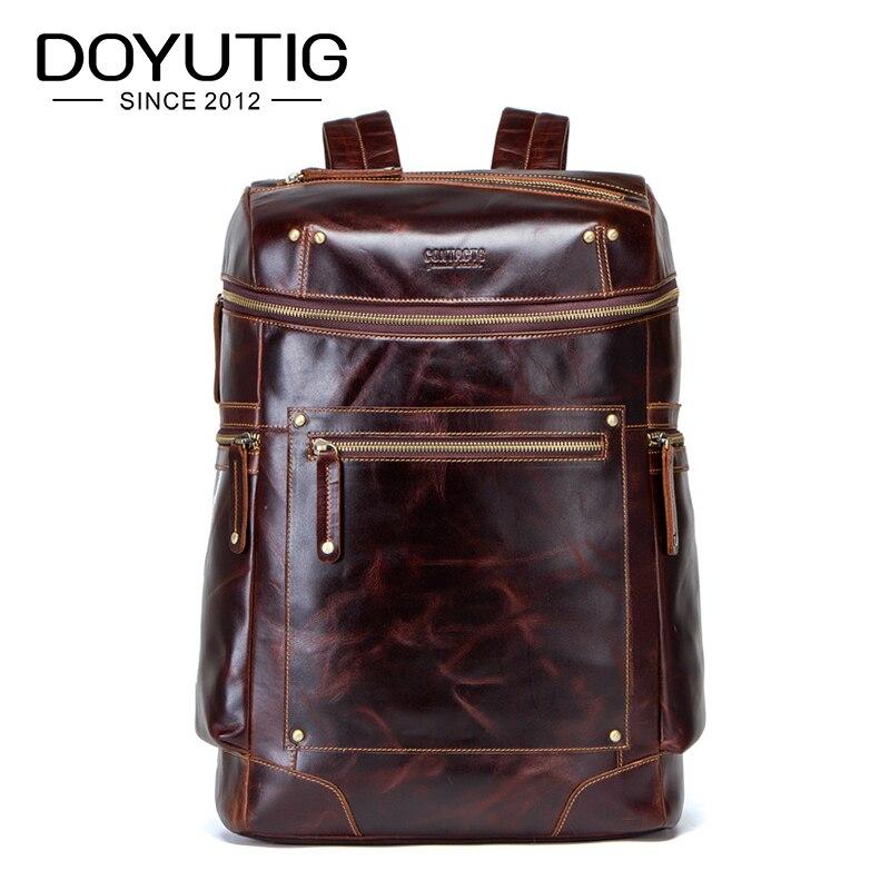 DOYUTIG Бизнес Стиль мужские рюкзаки из натуральной кожи большой емкости кофейного цвета Rea lCow кожаный мужской OL дизайн ранец H075