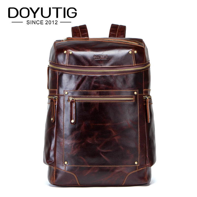 DOYUTIG Business Style Men's Genuine Leather Backpacks High Capacity Coffee Color Rea LCow Leather  Male OL Design Knapsack H075