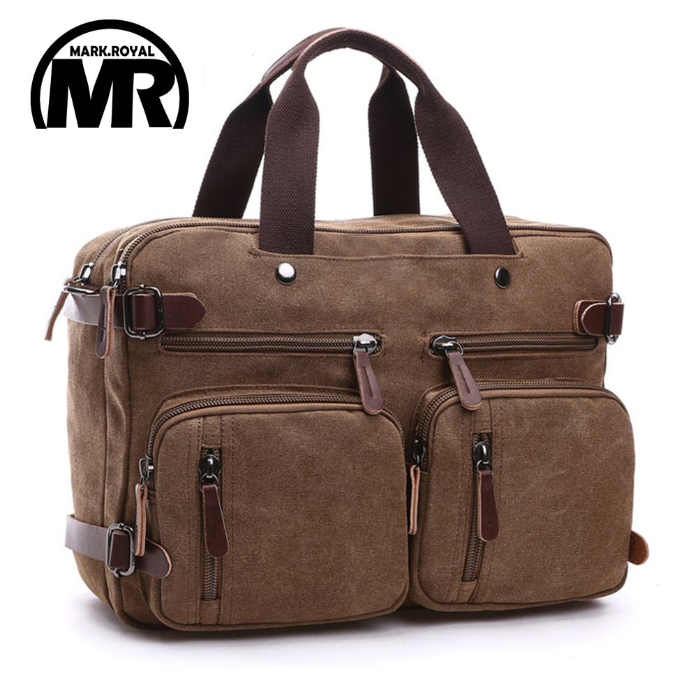 Markroyal Canvas Leather Men Travel Bags Hand Luggage Bags Men Duffel Bags Travel Tote Hide The