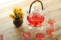 800ml Bamboo handle Glass teapot with infuser/filter+ 4/6 Cup + Warmer+candle,tea set for Loose leaf/flower/white/black/puer tea