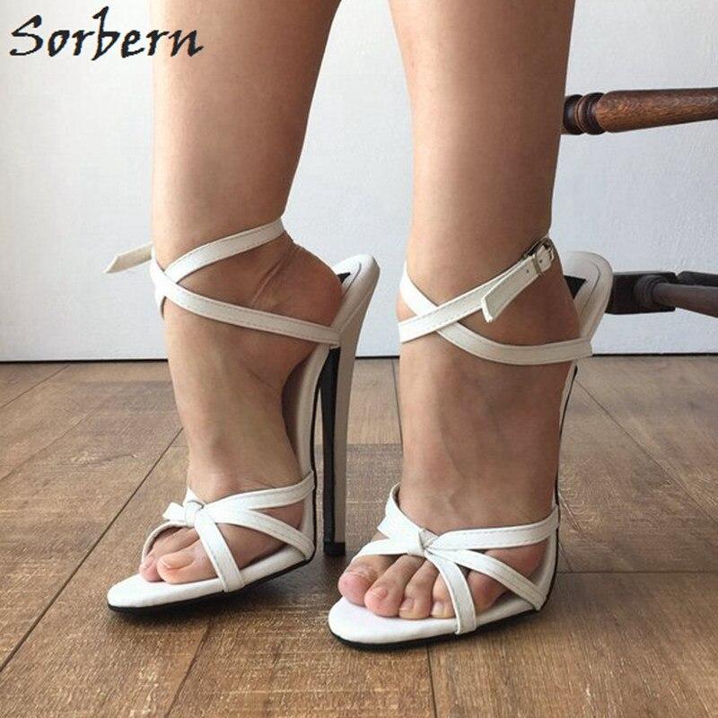 Sorbern Sexy Branco Slingbacks Sandálias Mulheres Cruz Amarrada Sapatos Espiga Sapatos De Salto Alto Sapatos Da Moda Tamanho Sapatos Sandálias Estiletes 12 - 6