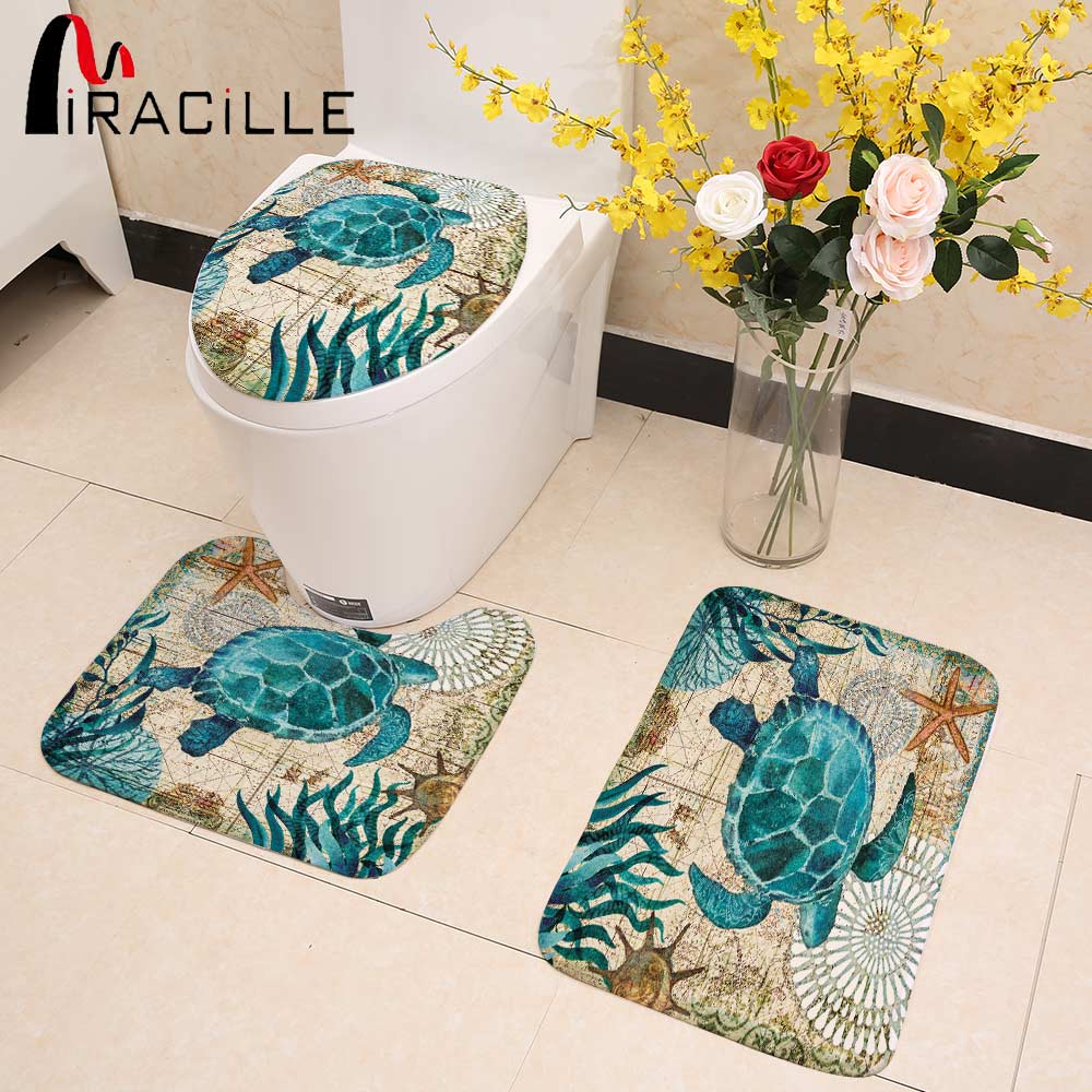 Miracille Marine Style 3 Pieces Set Toilet Seat Cover WC Set Sea Turtle Printed Bathroom Mat Washable Rug for WashingRoom
