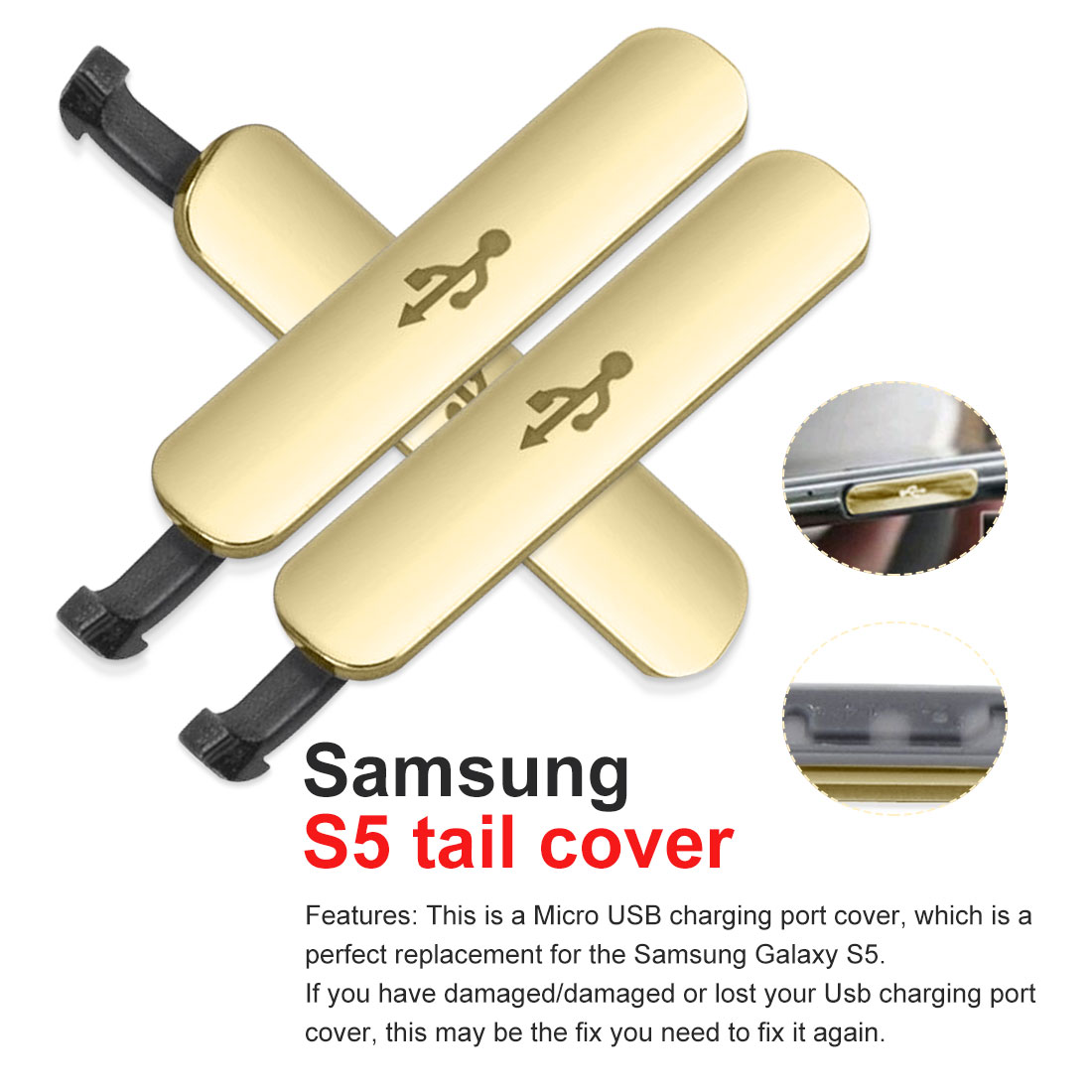 For Samsung Galaxy S5 Dust proof Plug Replacement USB Charge Port Flap Cover Charge Port Dust Plug Mobile Cell Phone
