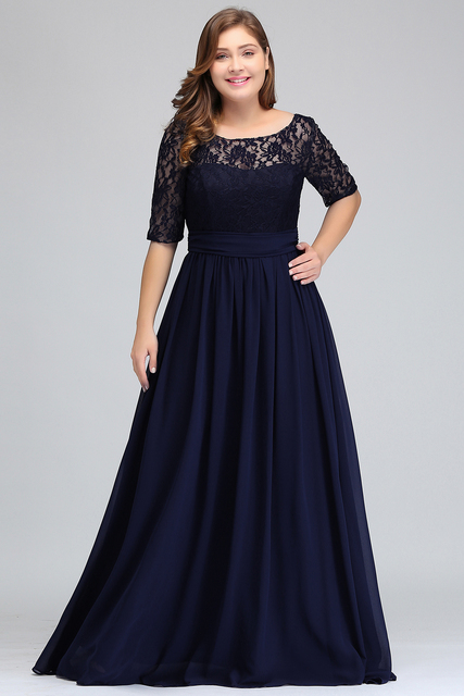 Elegant Half Sleeve Plus Size Lace Long Evening Dress  Sexy Royal Blue V Back Evening Gowns Robe de Soiree Longue 1