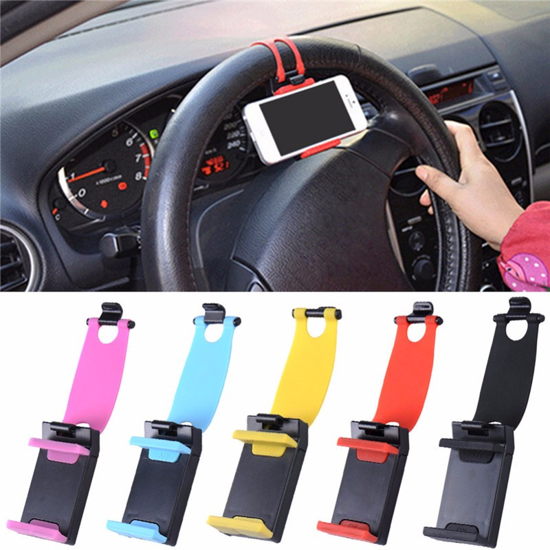 SIANCS Car Stying Steering Wheel Mobile Phone Holder  For IPhone  Samsumg LG GPS MP4 PDA Elastic Bracket Universal Stand