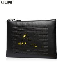 U.LIFE – Brand Designer City Totem Black Supreme Cowhide Genuine Leather Flap Men's Day Clutch Bag for ipad Male Handbags J35