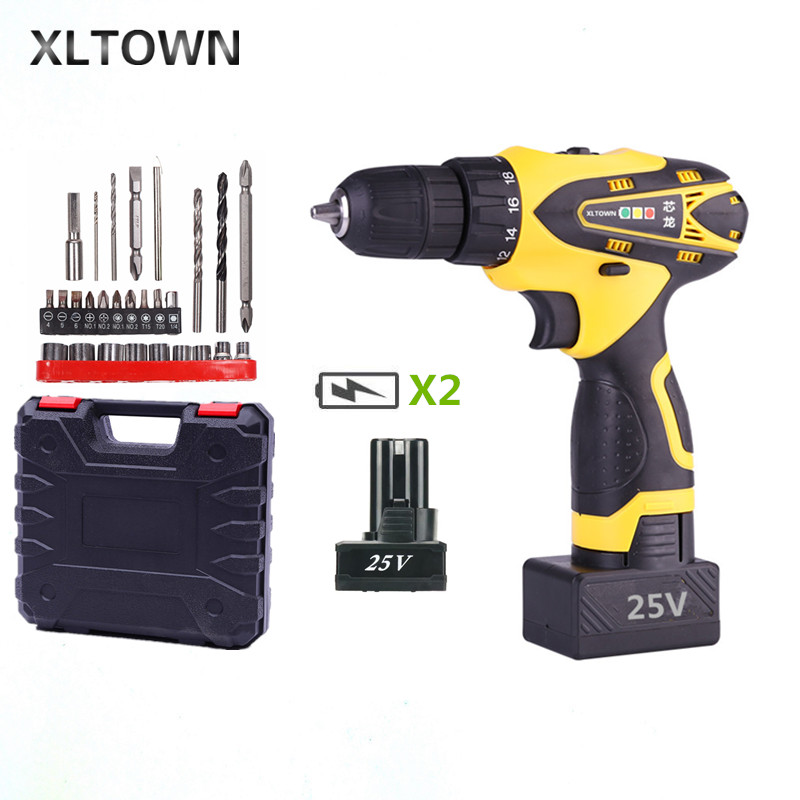 Xltown 25v two-speed rechargeable lithium battery electric screwdriver with 2 battery Household electric screwdriver Drill bitsXltown 25v two-speed rechargeable lithium battery electric screwdriver with 2 battery Household electric screwdriver Drill bits