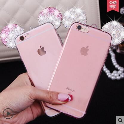 timeless design 0290f bb48b US $2.46 |3D Mickey Minnie mouse ears silicon transparent Case for iPhone 6  6s 5 5s SE 6plus Rhinestone case cute cartoon phone cover-in Rhinestone ...