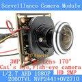 1/2.7 1920*1080 2MP AHD Mini Módulo de Câmera 1080 P 360 Graus Wide Angle Fisheye Câmera Panorâmica Câmera de Vigilância de Infravermelho
