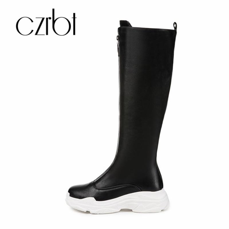 Femmes Plat Style Chaud pu 2018 Non bleu marron Confort Chaussures Ciel clair noir Czrbt Genou Mode Bottes Beige De Loisirs slip Nouveau CBrxWoed