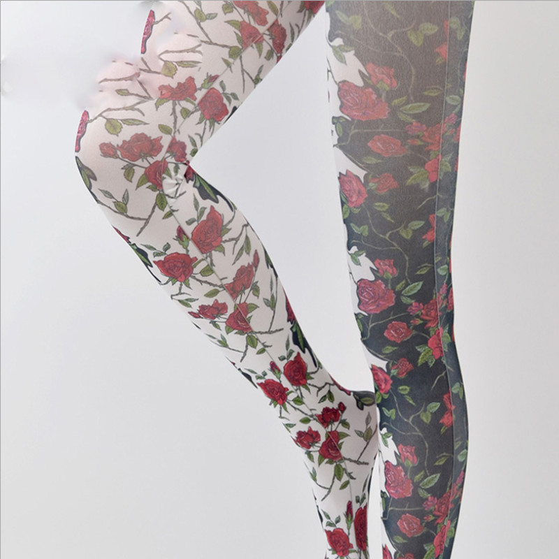 2019 New Slim Pantimedias Female Features Flower Pattern Stockings Rose Print Pantyhose Colants Femme Sexy Tights