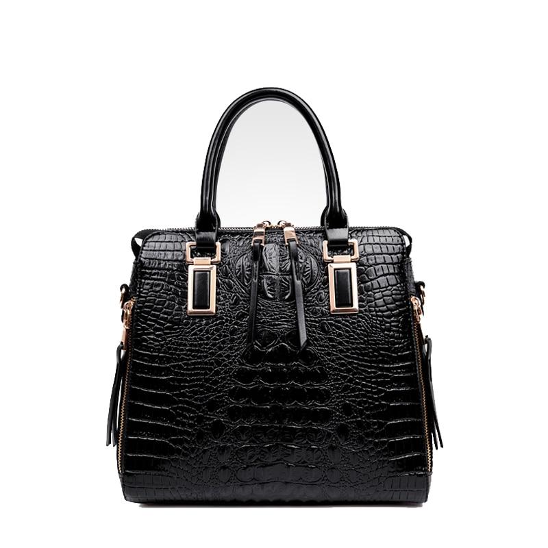 ФОТО 2017 NEW Fashion Designer Big Capacity Ladies Bags Crocodile pattern Embossed PU Leather Cross Body Handbags Women Totes