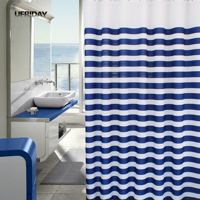 Navy Blue White Shower Curtain