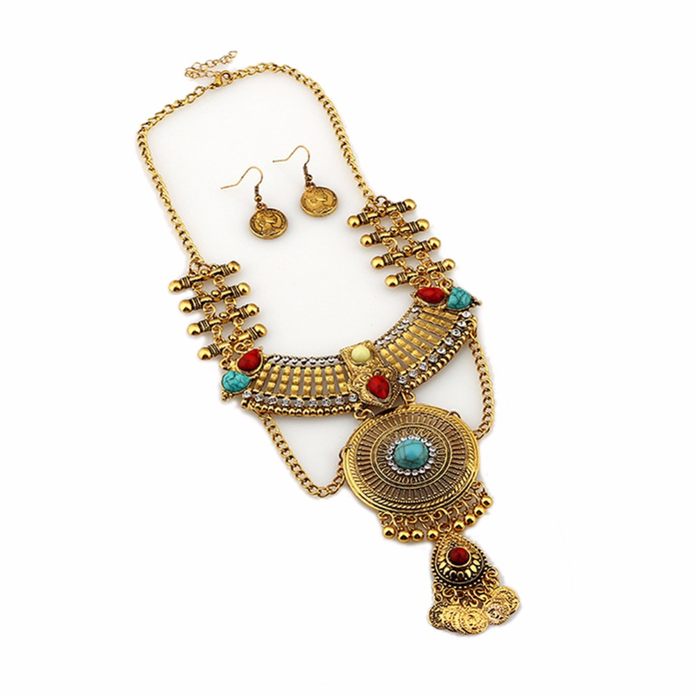Ethnic Necklace Earring Set Metal Tassel Beads Bib Statement Necklace Earrings Set MOTHER\'S DAY GIFT 2018 New Arrival