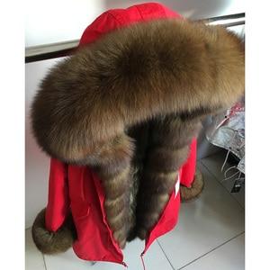 Image 3 - MaoMaoKong prawdziwy lis naturalny kołnierz płaszcz naturalny szop futro kurtka zimowa z podszewką długi, z kapturem grube ciepłe kobiety parki