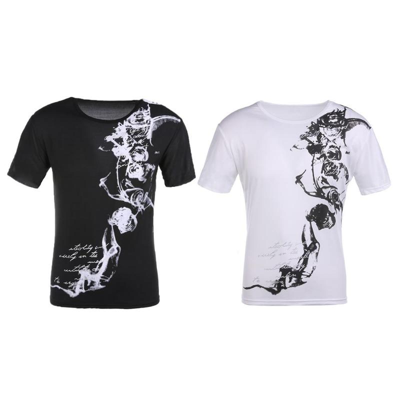 Man Shirt Short-Sleeve Floral-Tee Slim-Fit Print Male Plus-Size Men Fashion O-Neck Homme