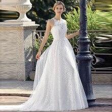 Sexy Halter Neck Backelss Wedding Dress Robe de mariee Vintage Lace Tulle Bridal Elegant Plus Size Gown