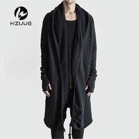 HZIJUE Brand Kanye West Mantle Streetwear Hoodie Long Male Black mens Hooded Cloak Hip Hop Longline Sweatshirt Sudadera Hombre