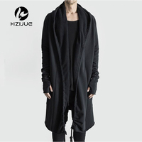 HZIJUE Brand Kanye West Mantle Streetwear Hoodie Long Male Black mens Hooded Cloak Hip Hop Longline Sweatshirt Sudadera Hombre