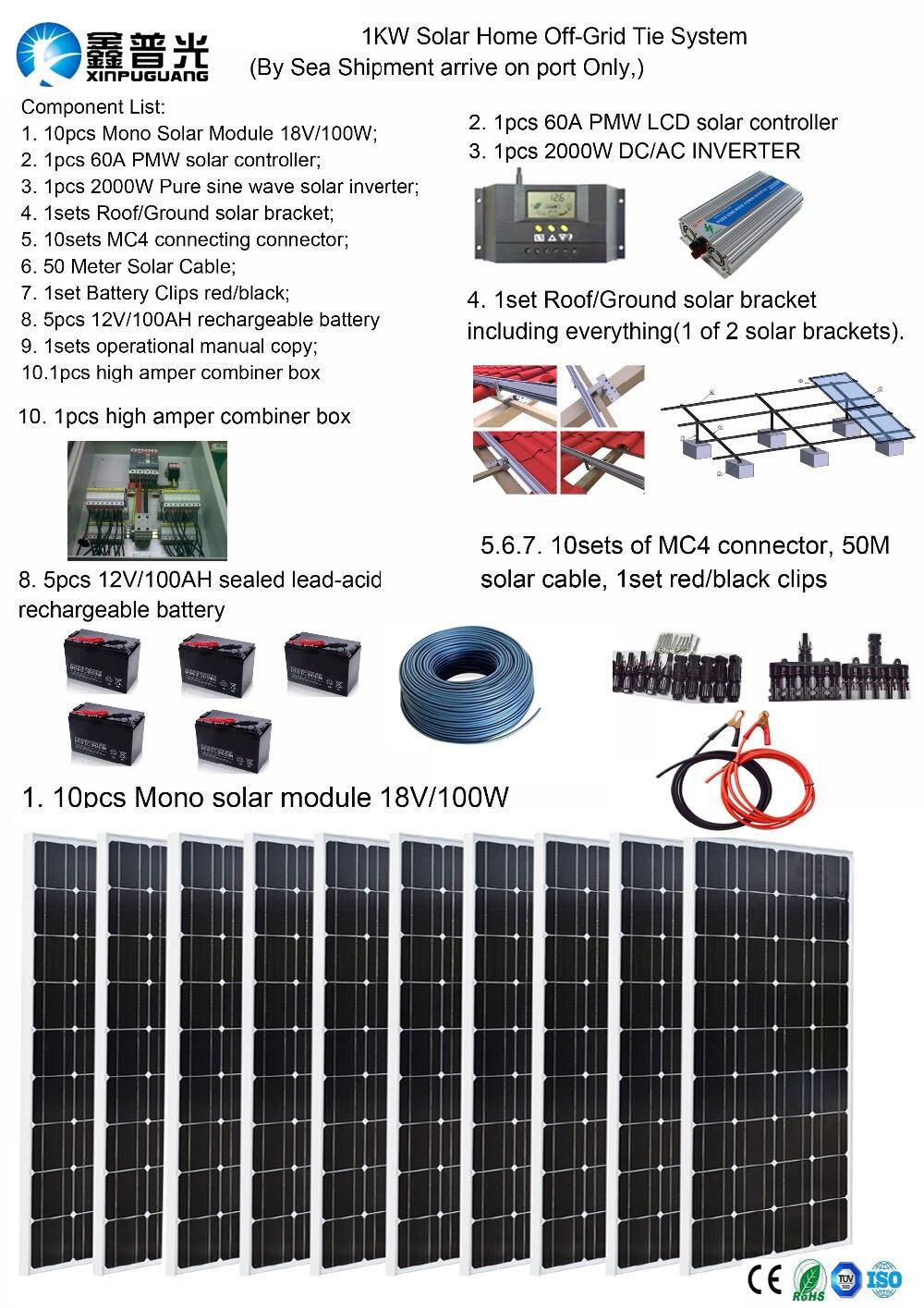 Solar panel system 12V 110V 220V 1000W Solar Home off-grid tie systems sea shipment 10pcs 100W solar modules bracket battery