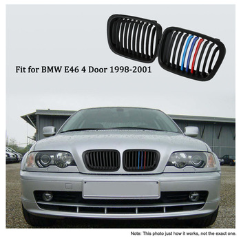 One Pair Matt Black Front Kidney Grille M Style Grill with Red Blue & Dark Blue Color Decoration for BMW E46 4 Door 98-01 front lip for lexus gs350