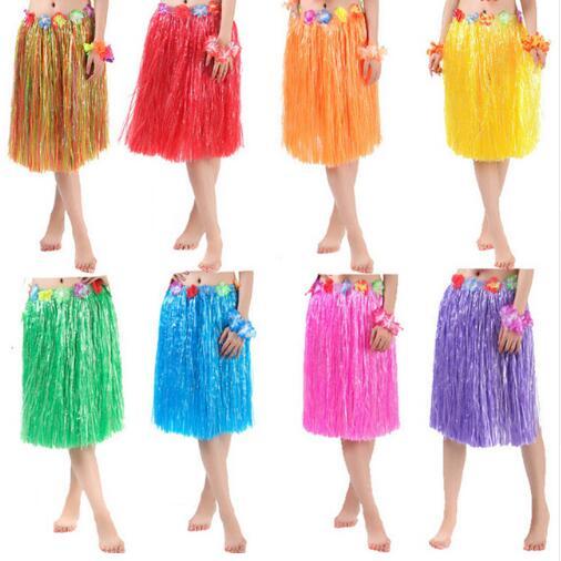 11 colores 30/40/60 cm fibras de plástico para niñas falda hawaiana Hula hierba traje flor falda vestido de baile Hula para fiesta