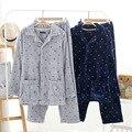 Hombres Kimono Pijamas Set Top Pantalones de Franela de Invierno de Espesor Pantalones de manga larga Suave