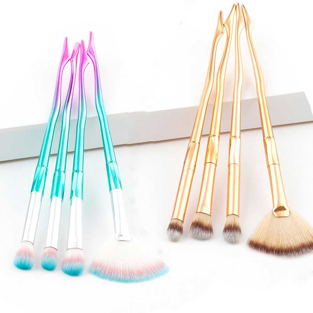 1/4Pcs Gold/Pink Blue Fan Shape Mermaid Makeup Brushes Eyeshadow Blush Contour Powder Foundation Facial Cosmetic Makeup Tools