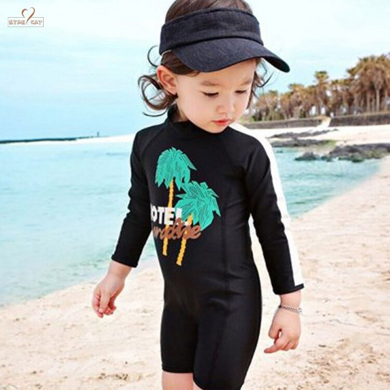 Swimwear 2019 New Summer Diving Suit Girls Long Sleeve Sun Protection Black Swimwear Fast Dry Style Surfing Rash Guard Swimsuit Refreshing And Beneficial To The Eyes