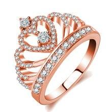 942cc652d212 Moda princesa reina corona anillos para mujeres Regalo de Cumpleaños Rosa  oro Color AAA Zircon Cz boda anillos de la promesa com.