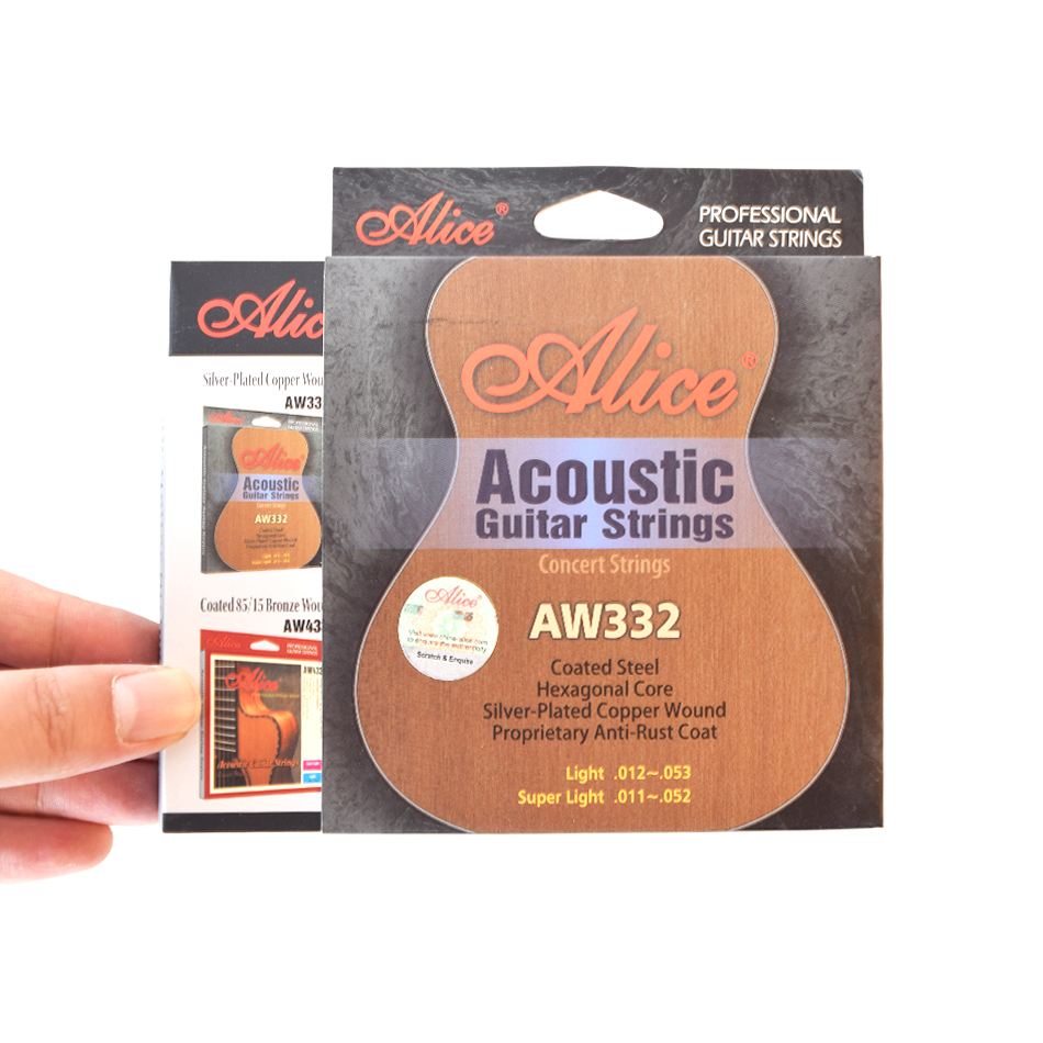 Senior Professional Alice AW332 Acoustic Guitar Strings 011-052, 012-053 Silver Plated Copper Wound Anti-Rust Coat Strings