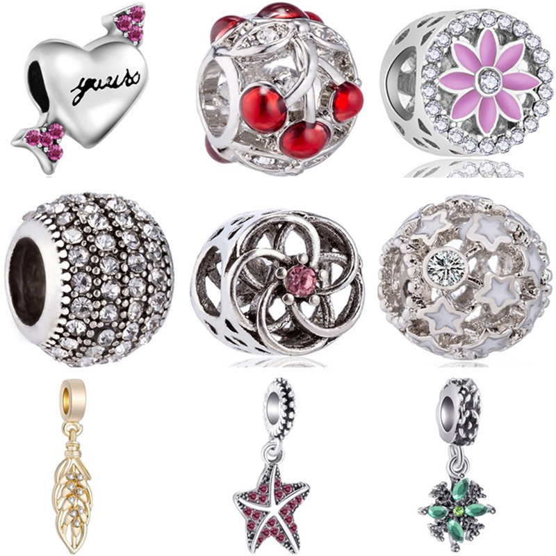 Heart Beads Charms Jewelry Arrow Starfish Crown Fit Pandora Women for DIY Cherry-Leaves