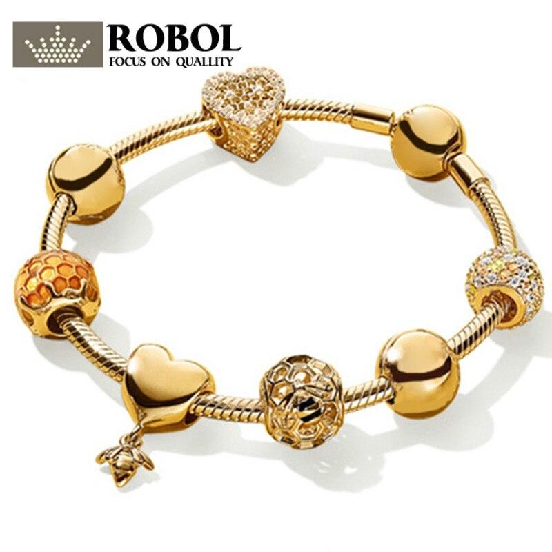ROBOL 100% 925 Sterling Silver Brand New Bracelet Set 18K Gold Color Love Honey Honeycomb Bracelet Set Fit DIY Sweet Gift sweet solid color forbidden love shape bracelet for women