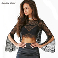 Women Sexy Lace Crop Tops Summer Autumn Hollow Out O-Neck Blouse Sleeve Slit Black Shirt Club Tops