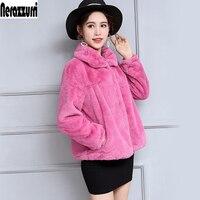 Зимние Искусственный мех куртка для женщин с длинным рукавом Высокая Талия Короткие плюс размеры пальто из искусственного меха 5XL 6XL 7XL модн...