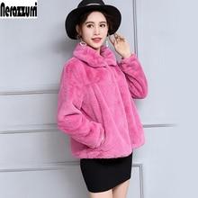 New 2017 Winter Faux Fur Jacket Women Long Sleeve High Waist Black Blue Short Slim Fake Rabbit Fur Coat Plus Size 5XL 6XL 7XL