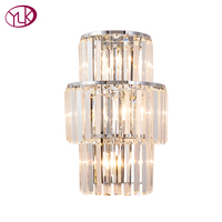 Youlaike New Modern LED Crystal Lamp Luxury AC90 260V Silver/Gold Indoor Wall Sconces Lighting Fixture