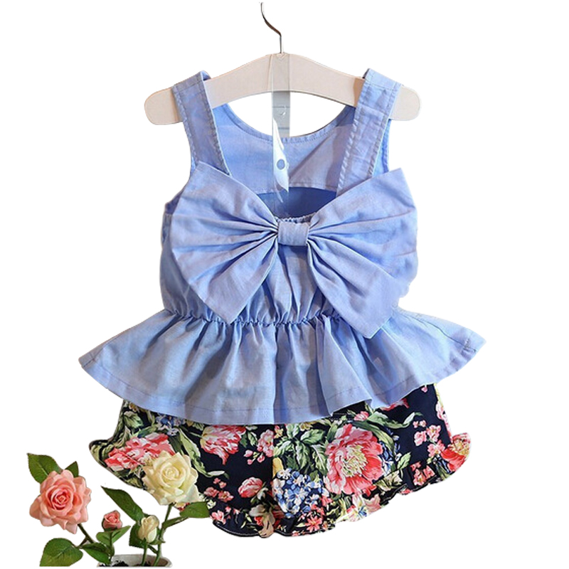 2 pcs sets sleeveless t-shirt+print short pants for 3-10 Yrs girls cotton bow princess suit 2018 new summer Korean kids clothes 2016 summer europe fashionable girls cute girls short bow wave shorts cotton suit birthday gift for girls