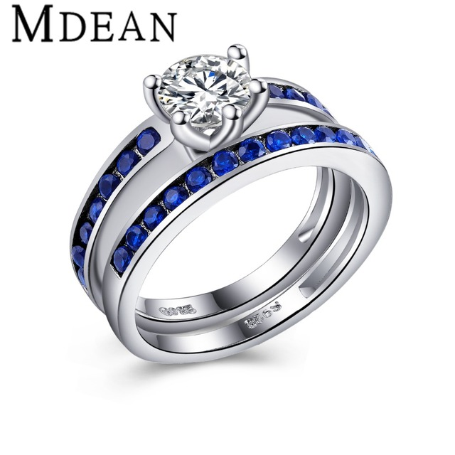 MDEAN Sapphire Ring sets White Gold Plated Rings for women CZ Diamond Jewelry Wedding engagement ring Bijoux women rings MSR321