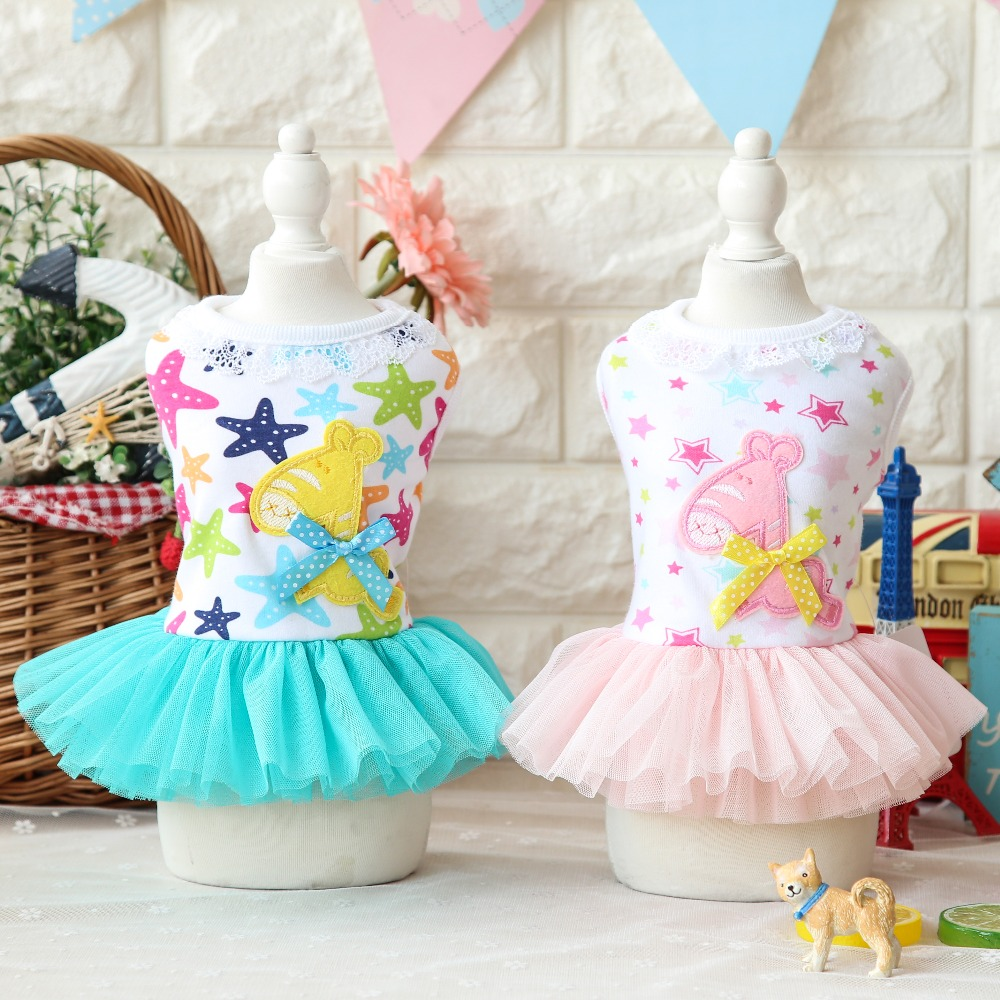 Cartoon Stars Trojan Horse Lace Dresses Girls Clothes for Dogs Cat Wear Products for Pets Yorkie Maltese Chiwawa 17ZF46