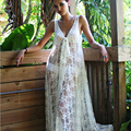 Photography maternity lace dress props fancy photo shooting white lace woman long dress deep V neck photo shot maternity dress