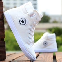 Mens High-top Canvas Shoes Men Spring Autumn Top Fashion Sneakers Lace-up High Style Solid Colors Man White