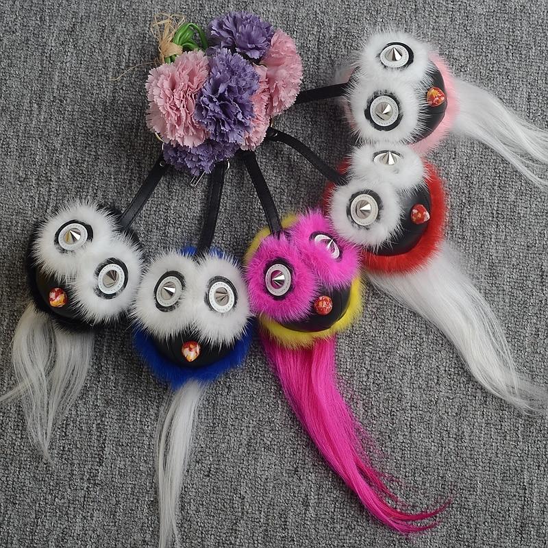 Femmes véritable fourrure de vison balle pom pom anime oiseau porte-clés furry hibou sac à main charme sac bug pendentif ornements intérieurs de voiture porte-clés